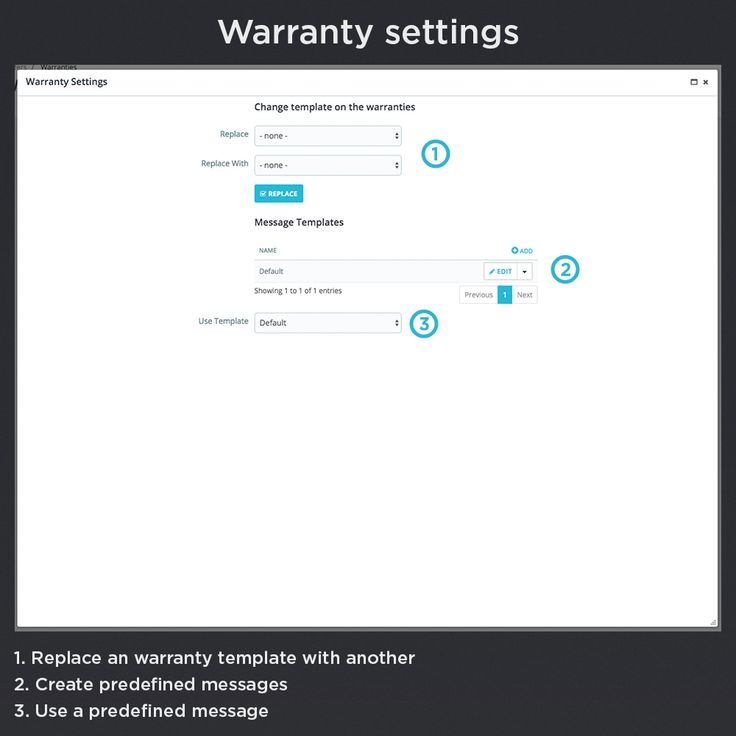 Warranty settings, replace a warranty template with another, create predefined messages, use a predefined messages.