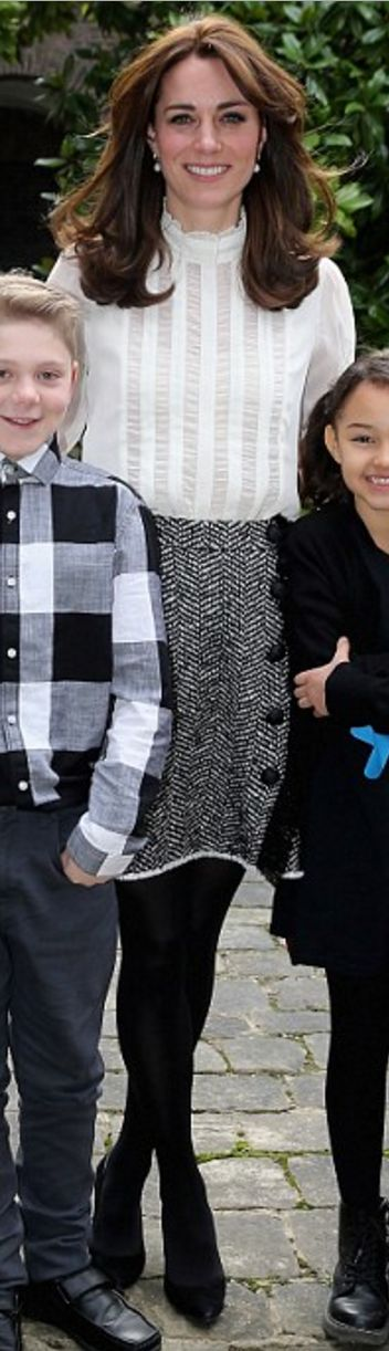 Kate Middleton: Shoes – Stuart Weitzman  Shirt – Reiss  Skirt – Dolce & Gabbana  Earrings – Annoushka  Watch – Cartier