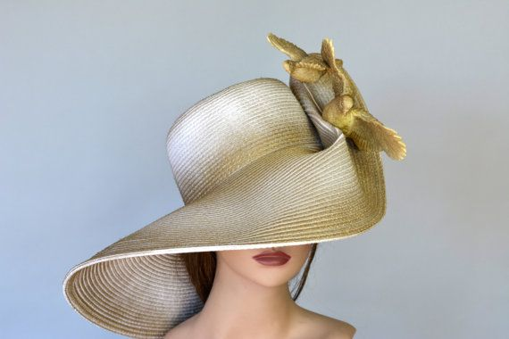 Gold Hat Gold Pigeons Kentucky Derby Hat by BridalWorldAccessory