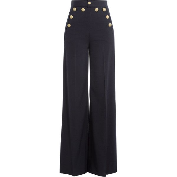 RED Valentino Wide Leg Sailor-Style Pants (444 AUD) ❤ liked on Polyvore featuring pants, blue, blue pants, high waisted wide leg trousers, sailor button pants, sailor pants and loose pants