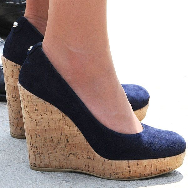 """Kate in her Stuart Weitzman """"Corkswoon"""" blue suede uppers with a 4.5"""" wedge and 1.25"""" platform, these Stuart Weitzmans are Kate's go-to shoe for business casual events."""