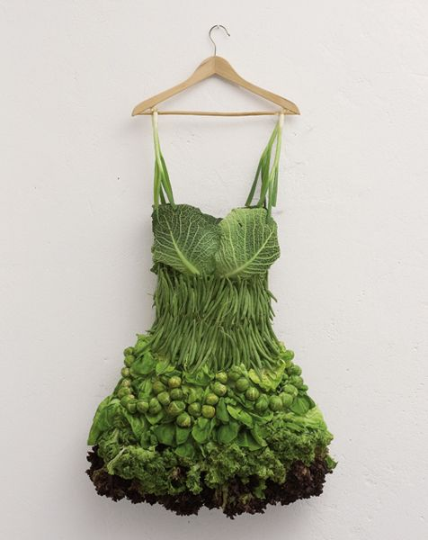 green dress organic: Creative Food, Green Veggies, Veggies Dresses, Salad Dresses, Sarah Illenberg, Vegetables Dresses, Foodart, Food Art, Green Dresses