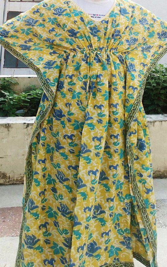 ce6aa61681 Floral Hand Block Printed light Weight night wear ladies gown retro style  flowers designer tassels