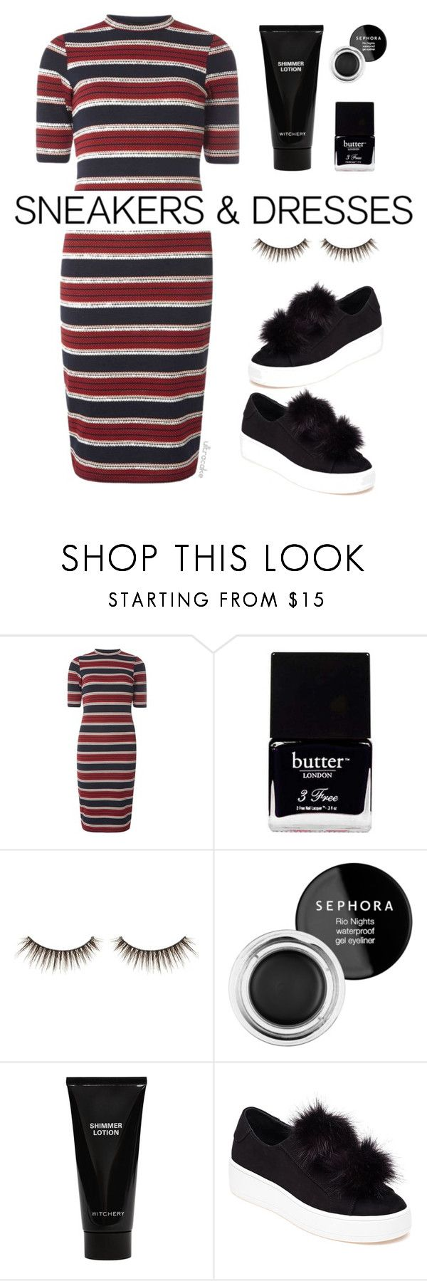 """""""Sneakers & Dresses"""" by ultracake ❤ liked on Polyvore featuring Dorothy Perkins, Butter London, shu uemura, Sephora Collection, Witchery, Steve Madden, fashiontrend, ultracake and SNEAKERSANDDRESSES"""