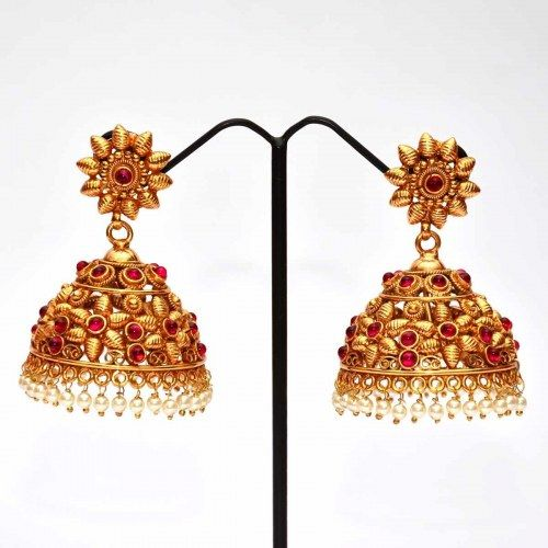 Anvi's floral design kempu jhumkas with pearl combination