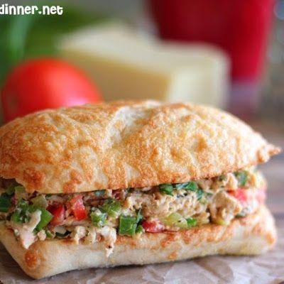 Tex-Mex Chicken Salad Sandwiches @keyingredient #cheese #chicken #appetizer