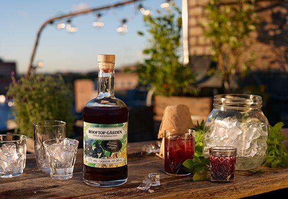 Rooftop Garden Organic Blueberry & Ginger likööri mustikka luomu vähemmän sokeria jälkiruuille drinkit 12,-