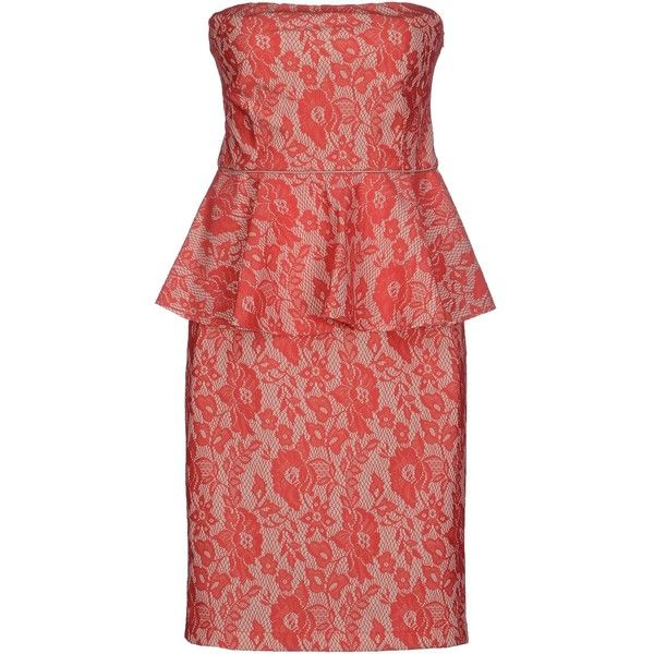 Pinko Black Short Dress ($137) ❤ liked on Polyvore featuring dresses, coral, lace mini dress, red floral dress, floral lace dress, sleeveless jersey and short red dress