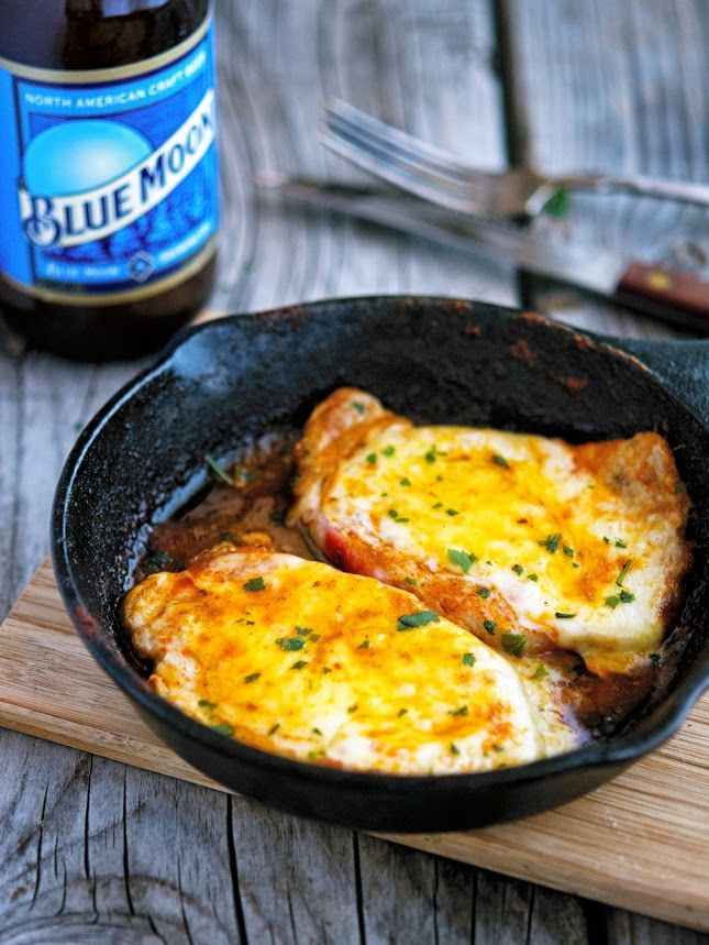 BUFFALO-STYLE PORK CHOPS: 2 tablespoons butter 3 tablespoons hot sauce (I used Frank's Red Hot) 4 (½ to ¾-inch thick) center-cut pork loin chops (about 10oz each) 4 thin slices mozzarella cheese Salt and pepper to taste
