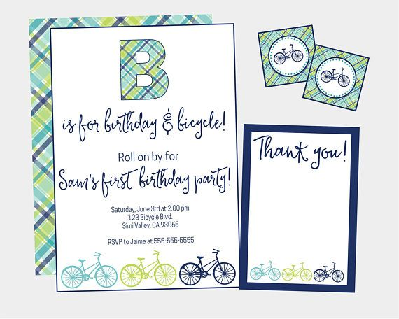 Bicycle Birthday Party Invitation. Printable Blue & Green