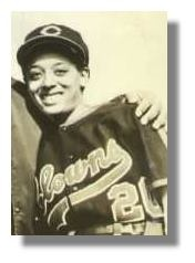 """Connie Morgan, 1955. Recruited at age 19. 3rd of 3 women in the Negro Baseball League. Played for the Indianapolis Clowns 1954-1955 and the North Philadelphia Honey Drippers, an all female team. Morgan had a career batting average of .368, ironically the record is held by Ty Cobb at .366."""