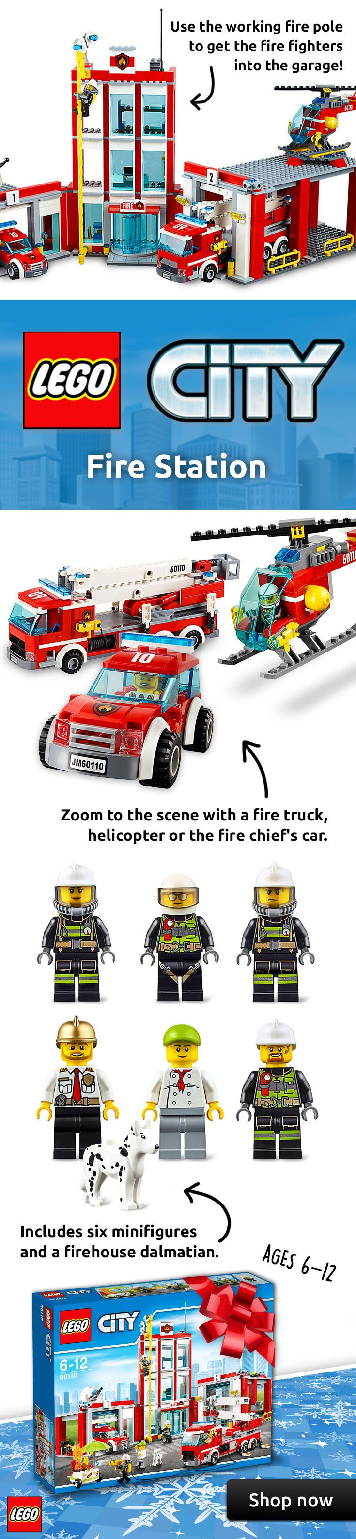 The LEGO® City Fire Station is the perfect holiday gift idea for a 6-12 year old child! They can build it all by themselves and you can enjoy as they play for hours with a LEGO fire pole, helicopter, fire truck, 6 minifigures and a firehouse Dalmatian! Shop now for free shipping!