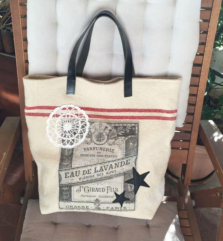 Cabas sac à mains, lin et cuir, dentelle : Sacs à main par realisa