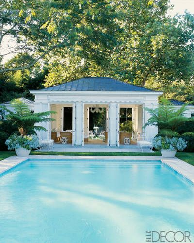 Estée Lauder creative director Aerin Lauder Zinterhofer's East Hampton, New York, home: Lauder says her favorite way to entertain at her retreat is with a barbecue served by candlelight next to her stylish swimming spot.