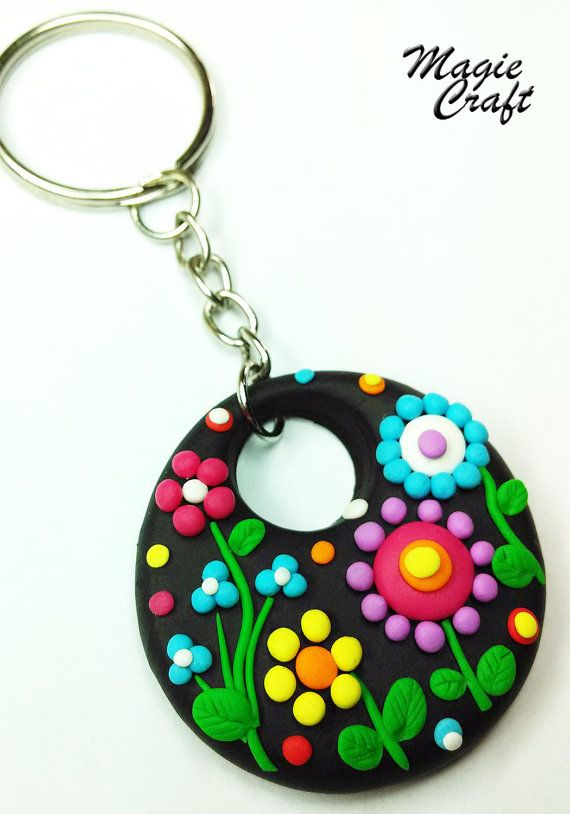 Fimo flowers keychain by MagieCraft on Etsy