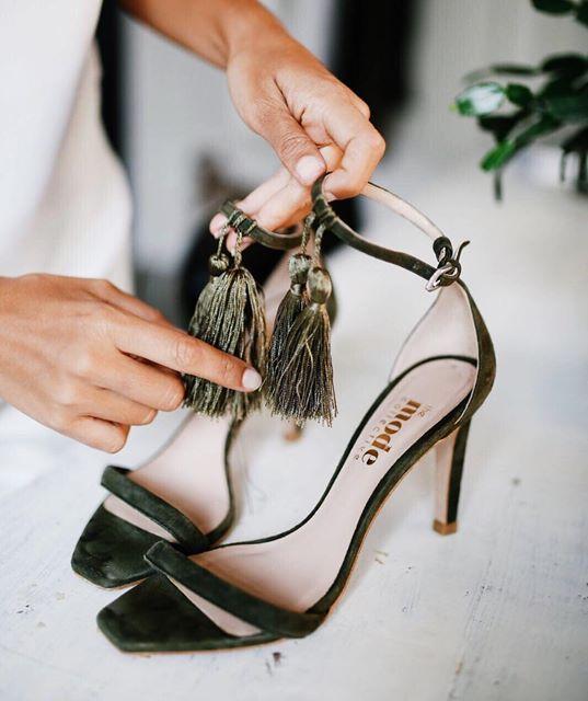 // tasseled velvet heels