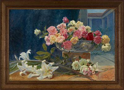 WILHELM PETERS CHRISTIANIA 1851 - DRØBAK 1935  Oppstilling med liljer og roser, 1903 Olje på lerret, 62x92 cm Signert og datert nede til høyre: Wm Peters 03