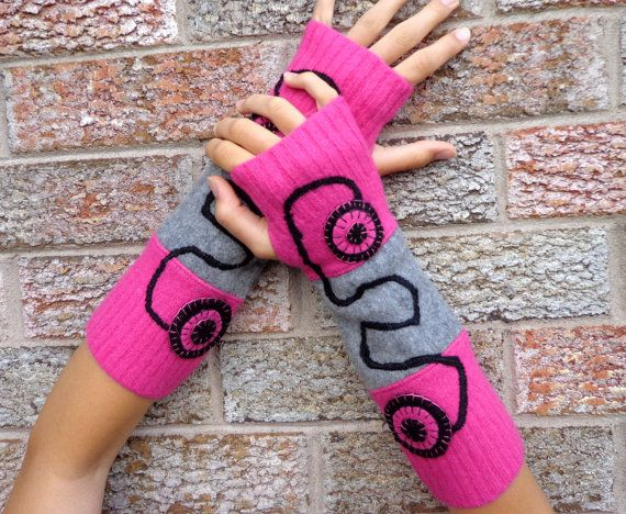 Wool Arm warmers, running sleeves, Upcycled fingerless gloves, made from 3 wool sweaters - pink, gray and black