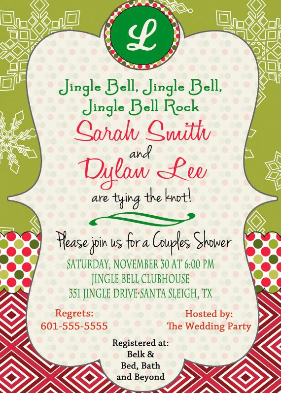 christmas bridal shower invitation christmas wedding by daxyluu