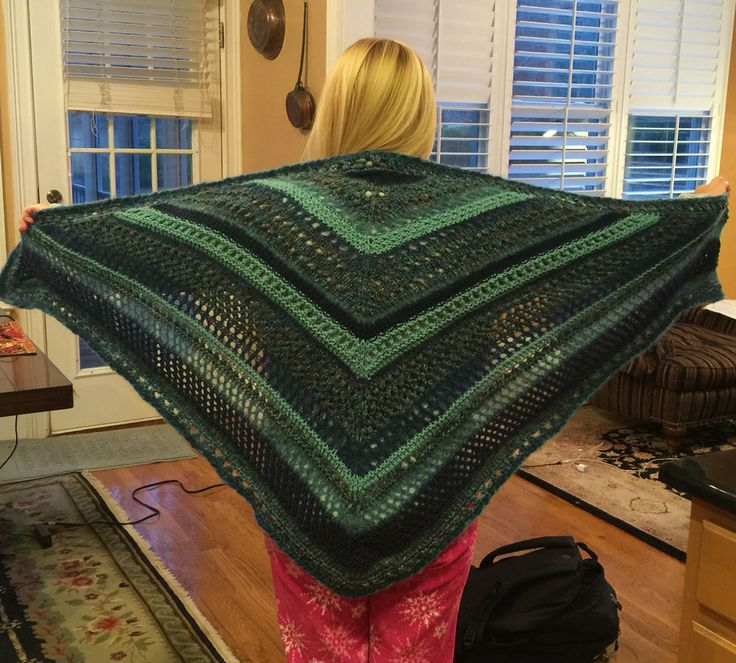 Shawl for Mary Hyatt, tennis team buddy going through chemo treatments... 4 different yarns creating interesting texture and color variations