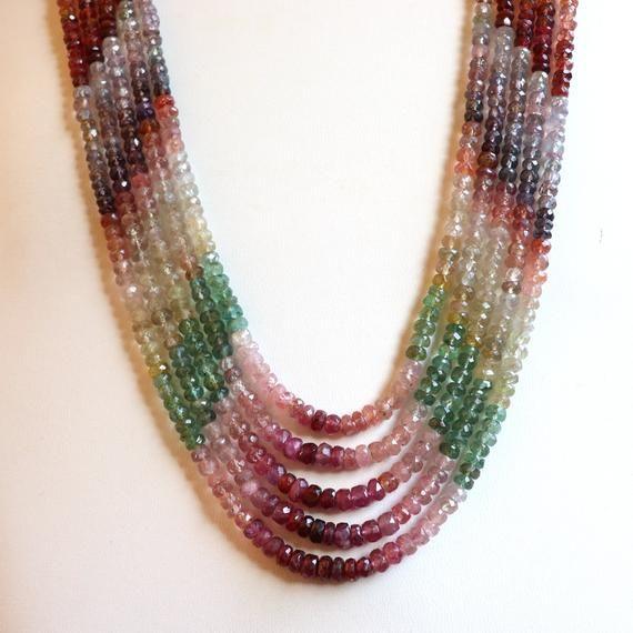 """Vintage multi strand nature multi color Tourmaline beautiful necklace 18/""""+2/"""""""