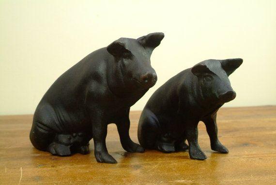 Two Antique Cast Iron Pig Banks