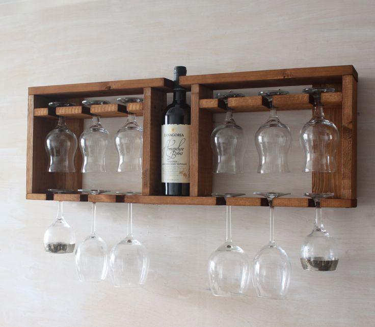 Wooden glass shelf - Wine glass rack - Brown shelf - Kitchen shelf - Rustic wine holder - Home decor - Glass Bottle Holder - Wall wine rack by MartelMosaic on Etsy