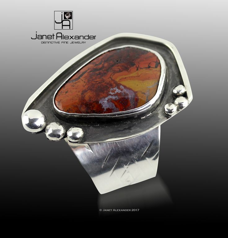 Adjustable Argentium ring with Jasper (19mm x 16mm).