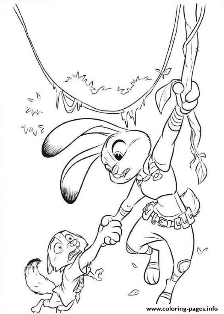 Difficult Disney Zootopia Coloring Pages 4