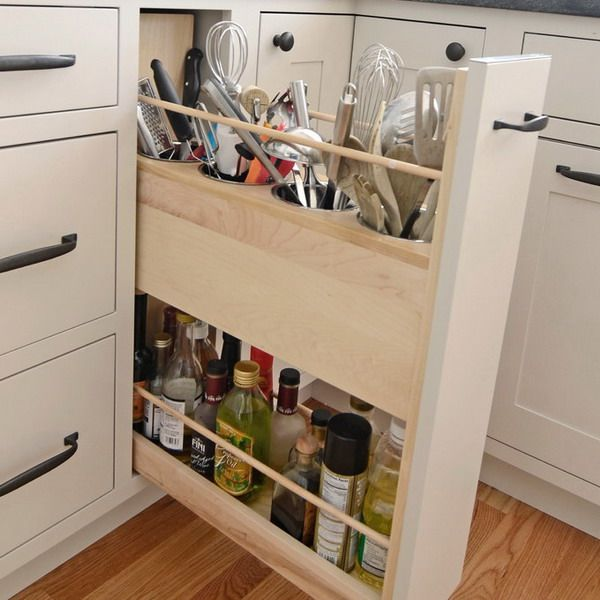 21 прием с примерами самых удобных приспособлений скрытого хранения на кухне. Они обеспечат больше свободного пространства, комфорт и порядок в кухне.