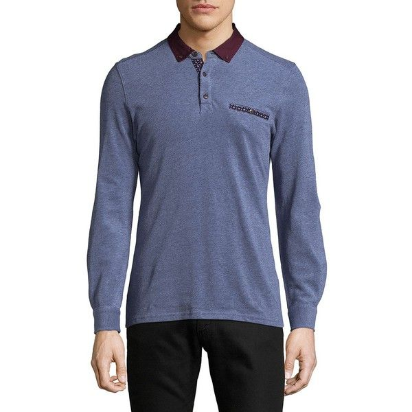 Saks Fifth Avenue Pique Cotton Polo ($33) ❤ liked on Polyvore featuring men's fashion, men's clothing, men's shirts, men's polos, mens longsleeve shirts, mens extra long sleeve shirts, mens polo shirts, mens long sleeve sport shirts and mens long sleeve polo shirts