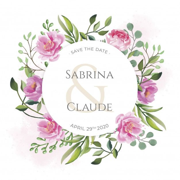 Wedding Invitation With Beautiful Watercolor Flowers Free