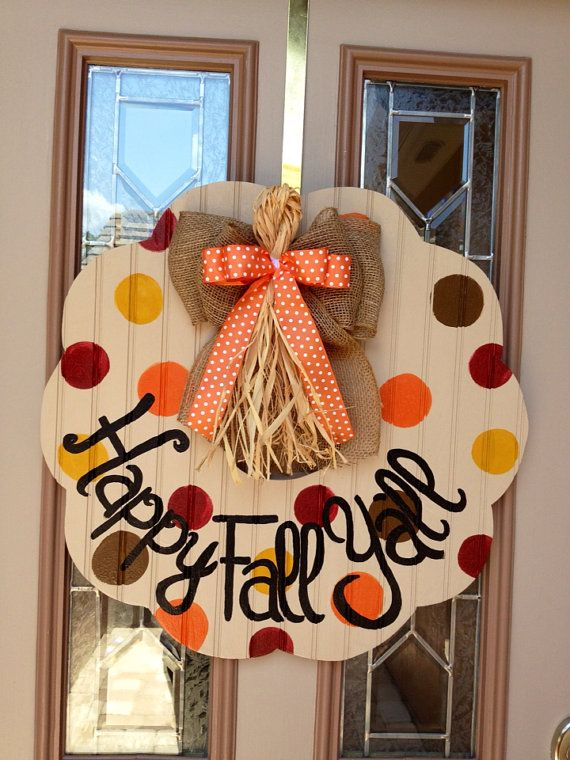 Happy fall y'all wooden beadboard wreath by shutthefrontdoors, $65.00 Love this! @Chase Meade-Patton