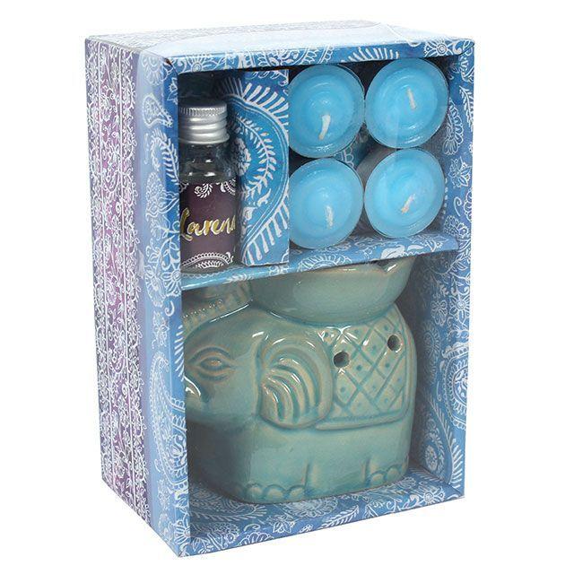 Small Turquoise Elephant Oil Burner Set