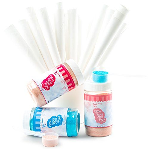 The Candery Cotton Candy Floss Sugar Kit Raspberry Blue Vanilla Pink and Strawberry Flavors 11 oz Jars 50 Cones and a Scoop  Fun Confectionary Treats for Kids and Adults * Details can be found by clicking on the image.