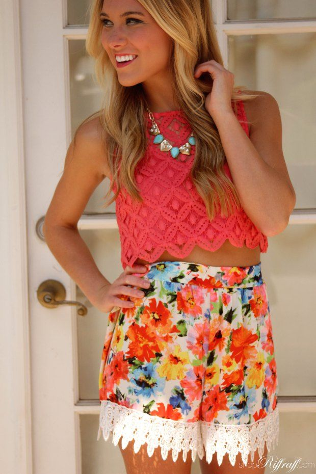 Floral Shorts and Lace Trim