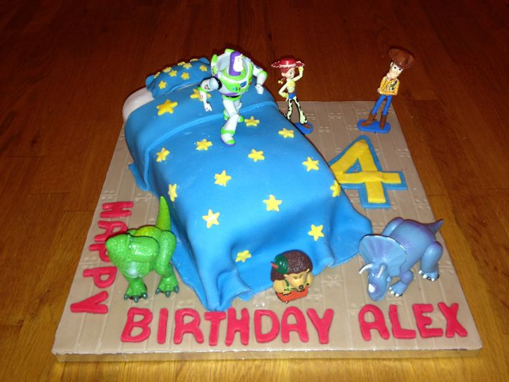 Alex wanted a Toy Story cake with toys on.