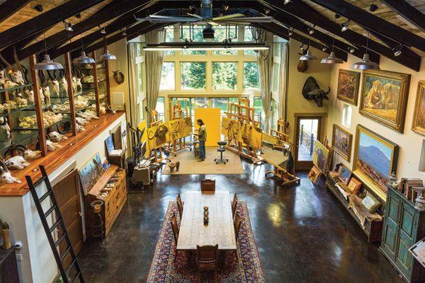 Inside John Banovich's studio in Carnation, WA.