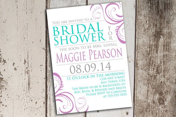 Filigree Purple Gray and Teal Bridal Shower by PaperCutCards, $9.25