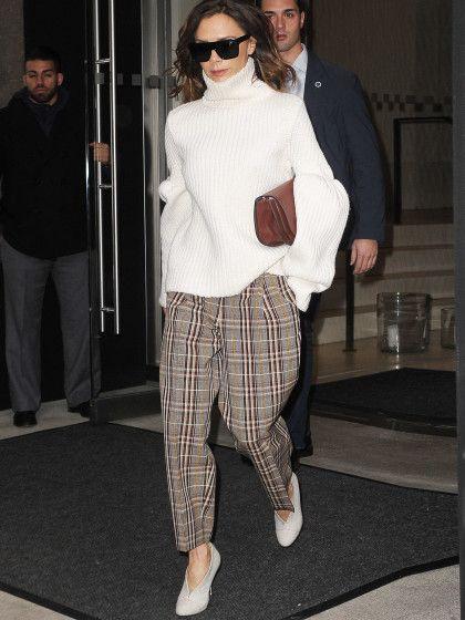Karierte Wollhose & Oversize-Pullover.