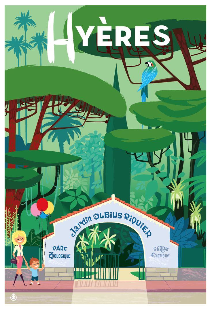 Jardin Olbius Riquier, Hyères, illustration de Monsieur Z (Richard Zielenkiewicz) : http://www.monsieurz.com/