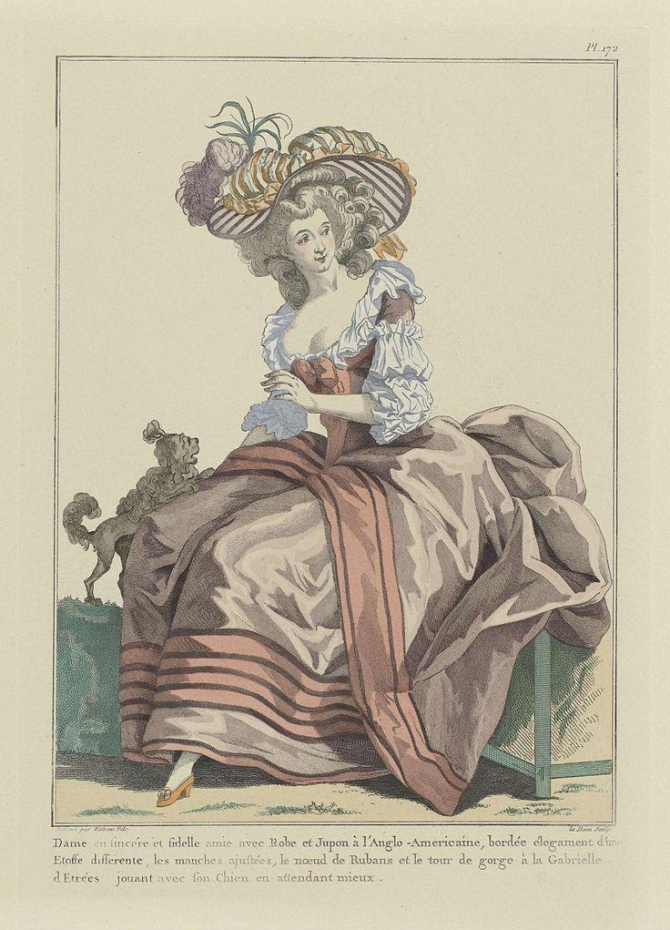 Madame Le Beau | Gallerie des Modes et Costumes Français, Pl. 172, kopie naar 1784, vv.254: Dame en sincère et fidèle amie..., Madame Le Beau, Esnauts & Rapilly, 1784 | Vrouw met hondje, in japon en rok 'à l'Anglo-Americaine', afgezet met een andere stof, aangepaste mouwen, een strik van linten en een 'tour-de-gorge à la Gabrielle d'Etrées'. Hoed met veren op het gekrulde kapsel. Schoen met hak en strikje. De prent is een heruitgave uit 1911-1912 naar vv. 39e Cahier (bis) des Costumes…