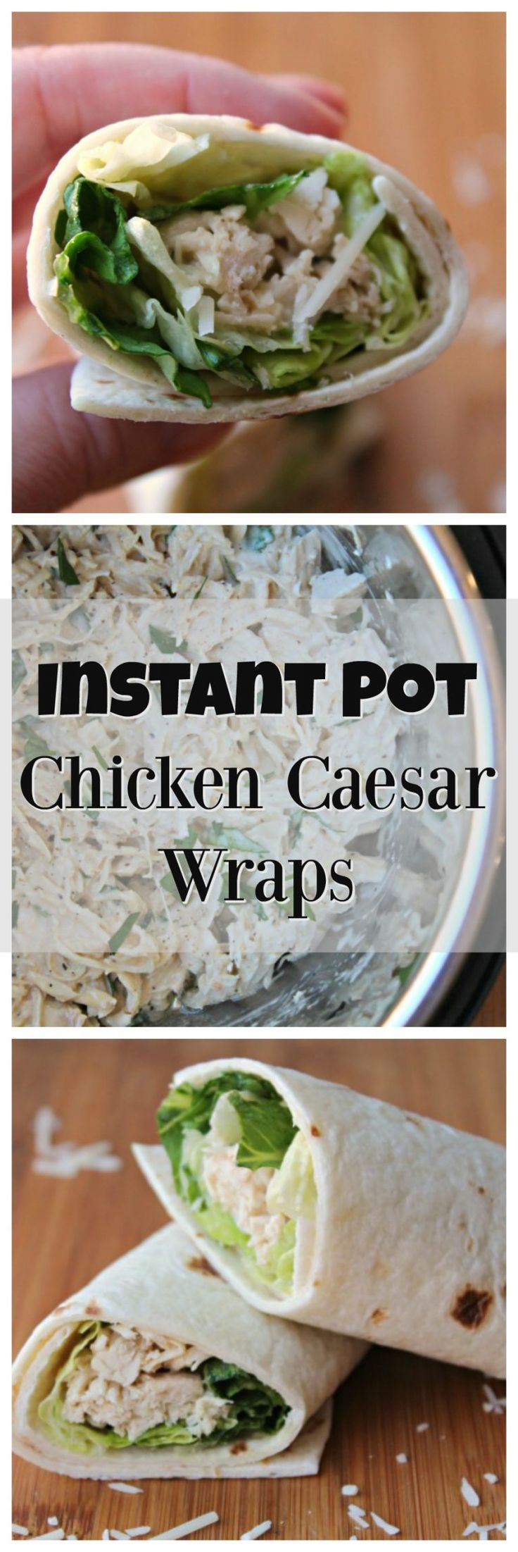 Instant Pot Chicken Caesar Wraps - Shredded Caesar Chicken made from FROZEN chicken, straight from the freezer with only 25 minutes in the Instant Pot. (Breaded Chicken Wrap)