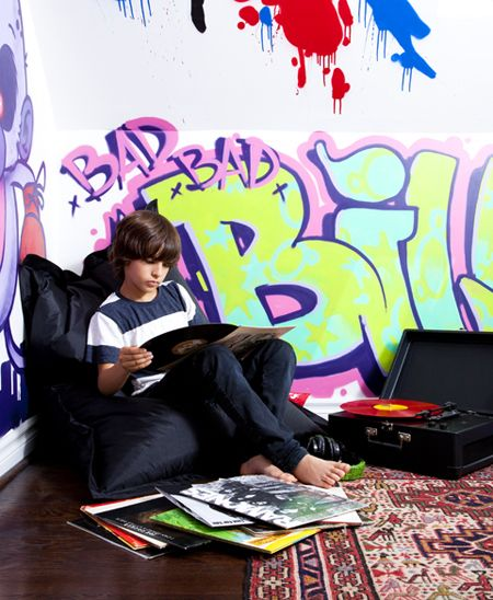 I want Jason's friend to graffiti Jaxon's room. I LOVE the look. Maybe in our next house:)