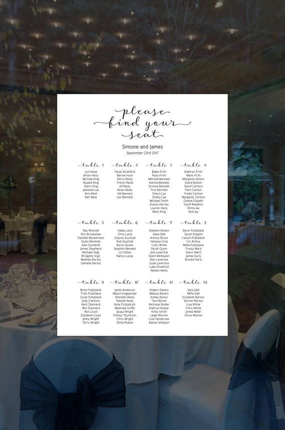 Wedding table seating chart with custom text, and your choice of font. Only text is available with this design, if you'd like graphics too, please visit other listings on my Etsy store.