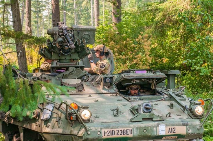Soldiers from the engineering battalion of the 23rd brigade of the M1126 Stryker is prepared for training exercises on base Lewis-McCord, 8 August 2017. (Photo by US Army Sergeant, Latoya Martin, 5th...