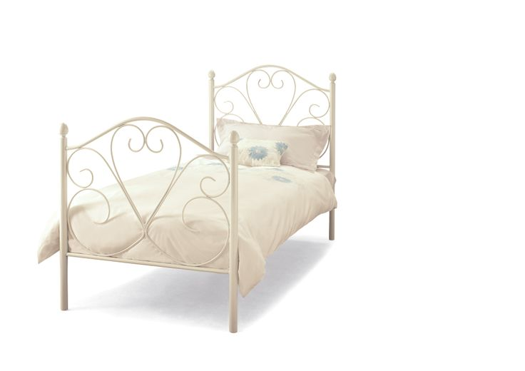 3ft Isabelle White Bedframe An enchanting design in wrought iron, finished by hand and displaying craftsmanship of the highest order.