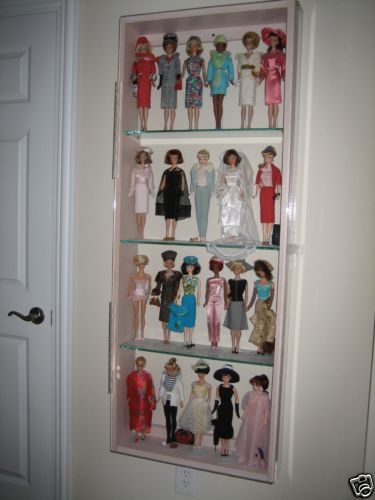 Pink-Wood-Wall-Curio-Cabinet-4-shelves-Plexiglas-Display-Case-Glass-Barbie-Doll