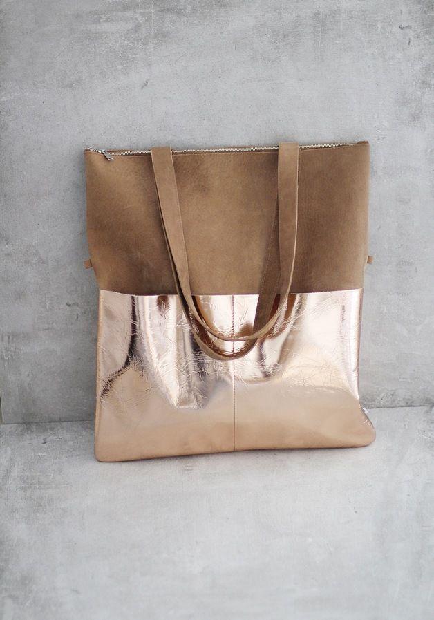 Einkaufstaschen - Lederbeutel von ElektroPulli braun / kupfer - ein…