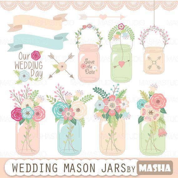 Imágenes Prediseñadas de tarro de masón: boda MASON por MashaStudio